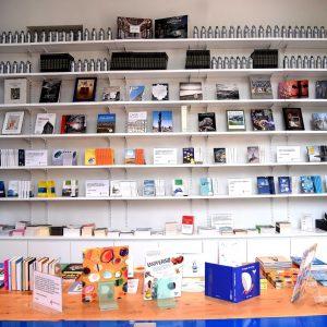 Library - Shop. Scaffalatura con libri